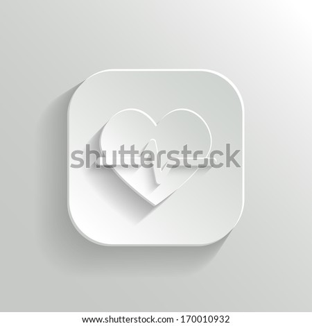 Cardiology icon - vector white app button with shadow - stock vector