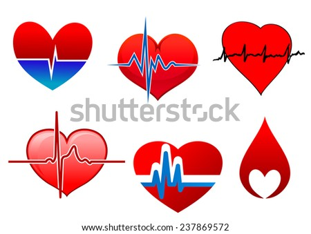 Cardiology icons with bright beating red hearts. One of them in a drop of blood and the other part with cardioid line of cardiogram  - stock vector