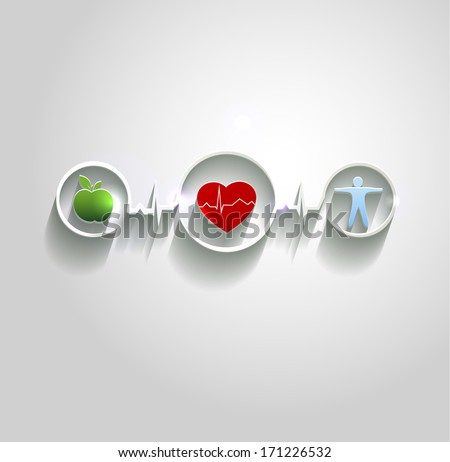 Cardiovascular disease treatment concept.  Healthy food and fitness leads to healthy heart and life. Symbols connected with heart rate monitoring line. Beautiful bright design. - stock vector