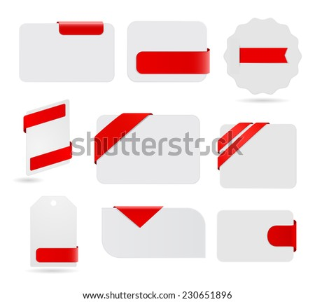 cards and banners with ribbon and tag - design element set - stock vector