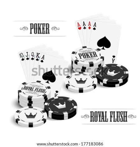 Cards and chips - stock vector