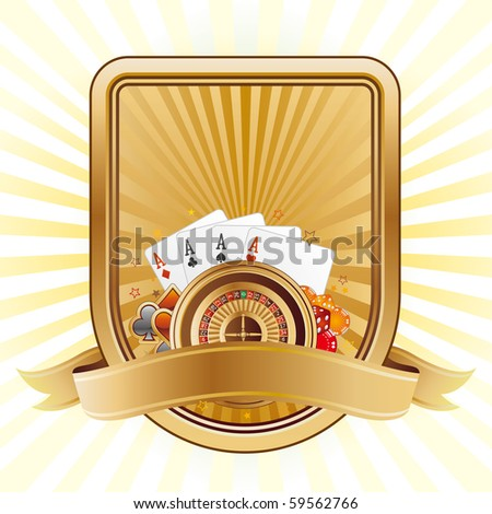 cards and poker on a shield - stock vector