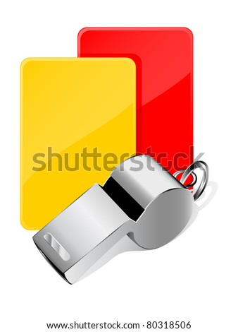 Cards and whistle, referee attributes - stock vector