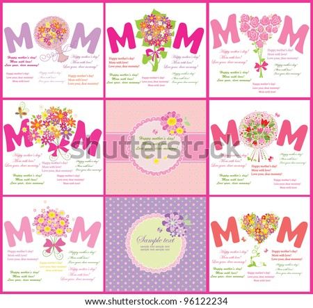 Cards for Mother's Day - stock vector