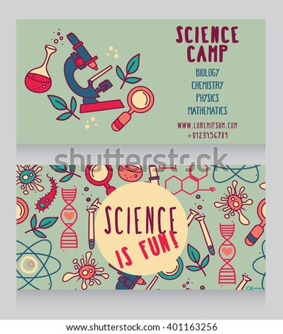 cards for science camp, bright doodle science icons, vector illustration - stock vector