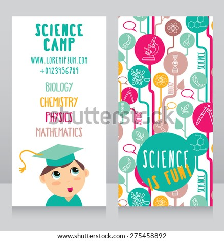 cards for science camp, smart kid in mortar board and science icons, vector illustration - stock vector