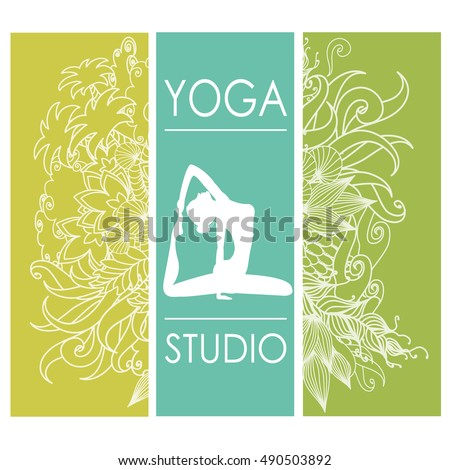 cards for Woman yoga studio with floral ornament, banner or brochure template,stock vector illustration