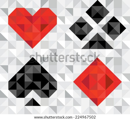 Cards game symbols vector. Background on separated layer. - stock vector