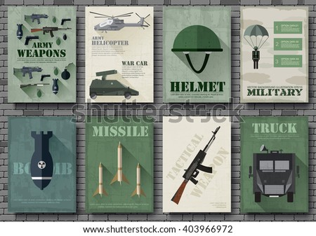 Cards of military equipment cards. Army template of flyear, Magazines, posters, book concept. Special forces items on grunge background. Layout illustrations pages with typography text - stock vector