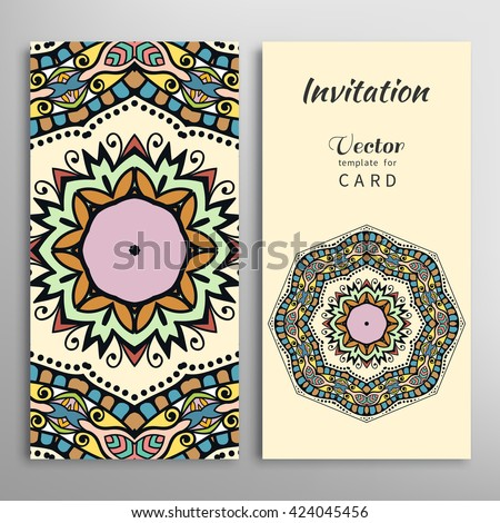 Cards or Invitations set with tribal ethnic mandala ornament, doodle floral geometric pattern for wedding, bridal, Valentine's day, greeting card or birthday invitation. Decorative colorful background