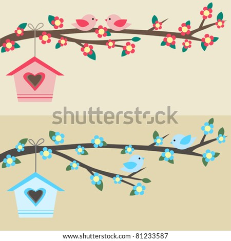 Cards with couples of birds sitting on branches and birdhouses. - stock vector