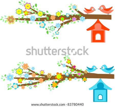 Cards with couples of birds sitting on branches and birdhouses. vector - stock vector