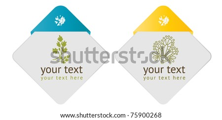 cards with flora - stock vector