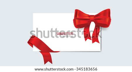 Cards with gift bow and shiny red ribbon. Vector illustration. - stock vector