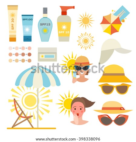 Care cream skin protection and beauty skin protection lotion. Skin summer protection, health beach skin protection sunscreen sea vacation. Skin sun protection cancer body prevention infographic vector - stock vector