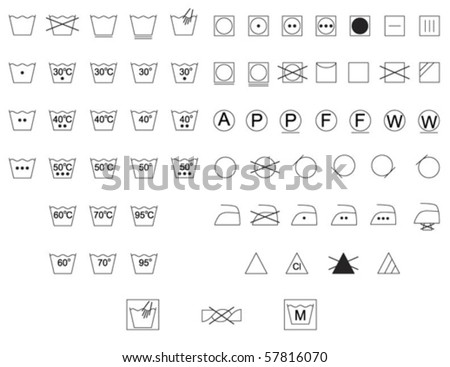Care Instruction Symbols Fabric Clothes Labels Stock Vector Royalty