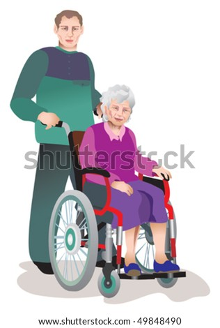 Care of invalids older persons - stock vector