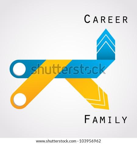 career and family balance - stock vector