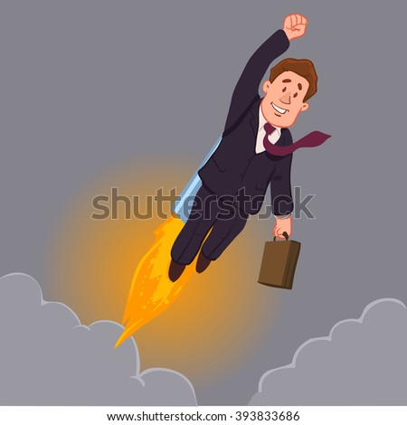 career development, rocket, success, happy cartoon character, vector illustration