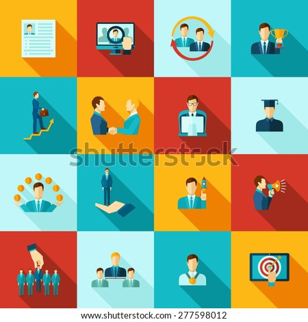 Career flat icons set with knowledge education work experience symbols isolated vector illustration - stock vector