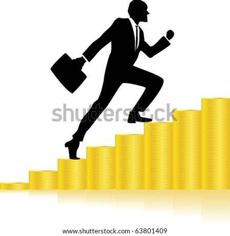 Career growth, Business progress, vector illustration - stock vector