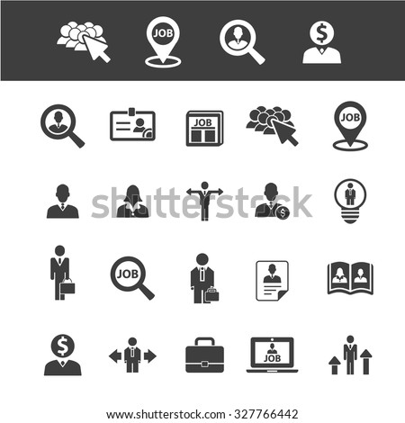 career, human resources, management, organization icons - stock vector