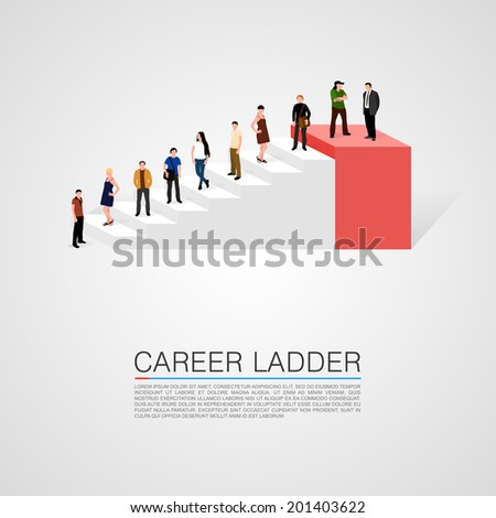 Career ladder with people - conceptual vector illustration. - stock vector