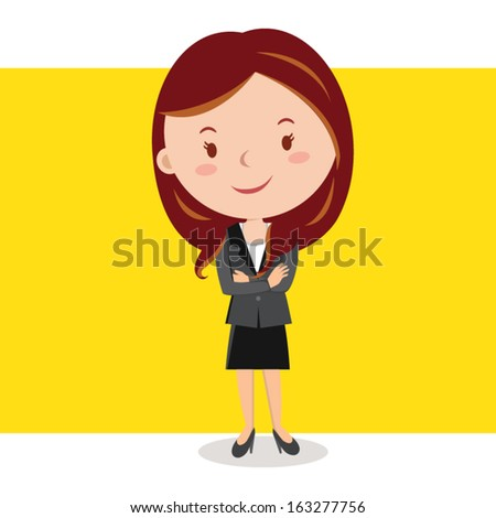 Career woman. Woman with arms crossed. - stock vector