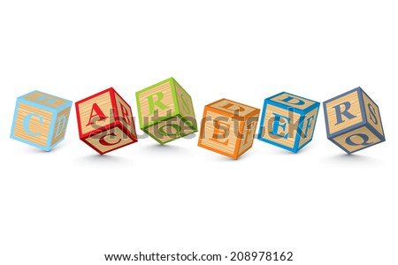 CAREER written with alphabet blocks - vector illustration