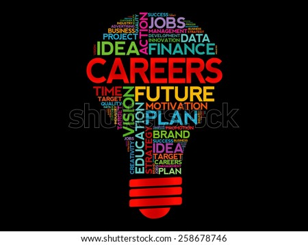 CAREERS bulb word cloud, business concept - stock vector