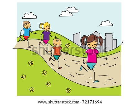 Carefree children run in the park together having fun and smiling. vector illustration - stock vector