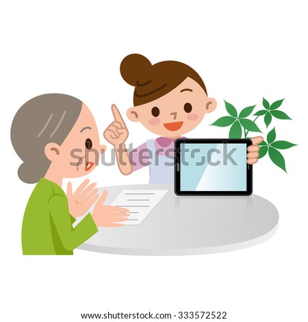 Caregiver described in tablet PC - stock vector