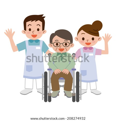 Caregivers and senior man in a wheelchair - stock vector
