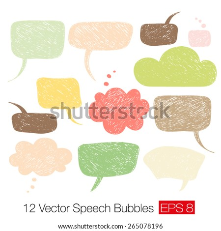 Careless speech bubble shapes in warm colors isolated a white background. Vector illustration