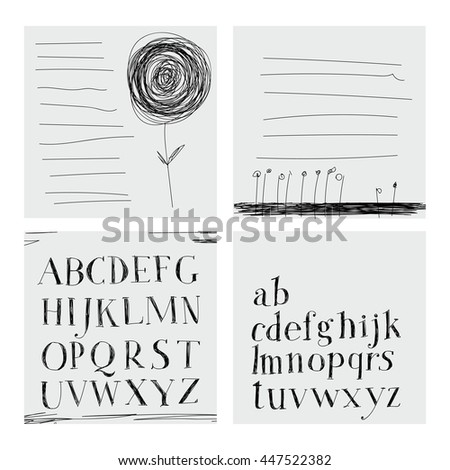 Careless style hand-drawing. Hatching. Hand drawing alphabet. Lettering. Notebook.