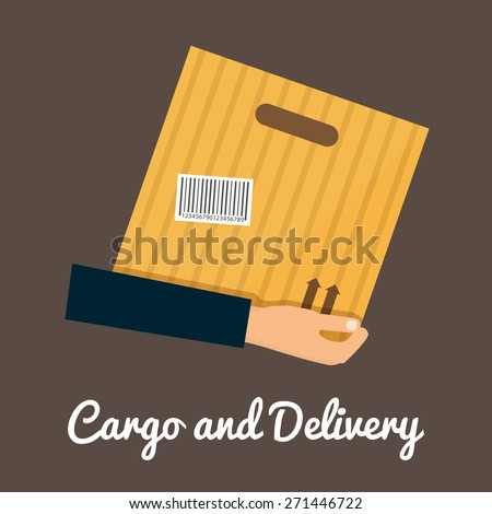 Cargo and delivery, hands holding cardbox. Shipping packaging vector icon - stock vector