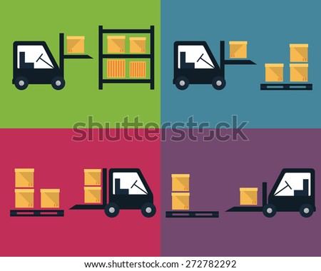 Cargo and delivery, shipping process vector set - stock vector