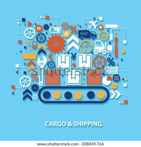 Cargo and shipping concept design on blue background,clean vector