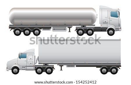 Cargo and tanker truck - stock vector