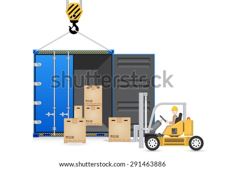 Cargo container and forklift,  vector of cargo container and forklift,  forklift and cargo container isolated on white,  shipping and transportation,  shipping tool, shipping equipment, - stock vector