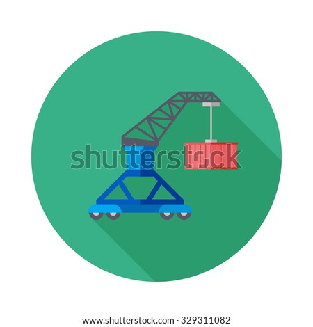 Cargo container ship icon, logistics icon,unloading containers from a cargo ship on the docks with cargo crane,the four types of colorful round icons,vector illustration