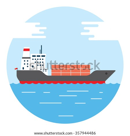 Cargo container ship transports containers at the blue ocean, vector illustration - stock vector