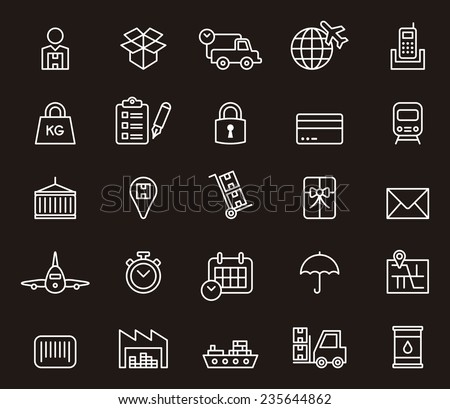 Cargo, Delivery, Freight Shipping & Transport icon set - stock vector