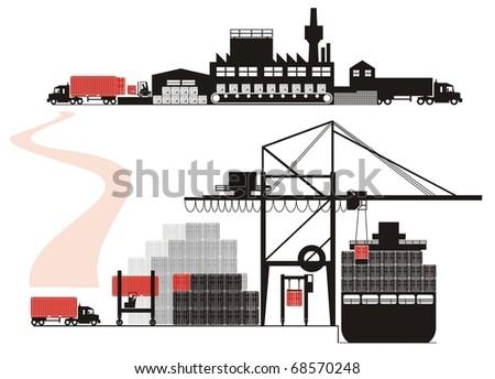 Cargo loading, stuffing and vessel loading - Supply chain vector illustration set (Part Two - from empty container positioning to full container being loaded on a container vessel) - stock vector