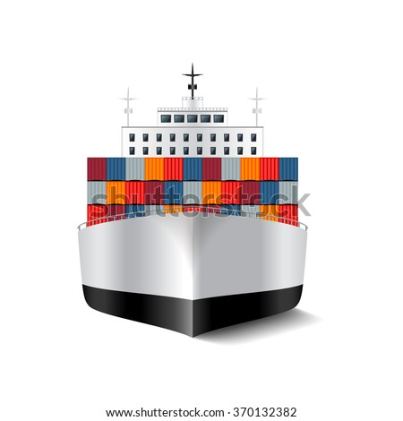 Cargo ship isolated on white photo-realistic vector illustration - stock vector