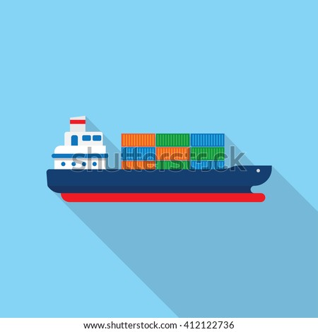Cargo ship with containers icon, vector illustration - stock vector