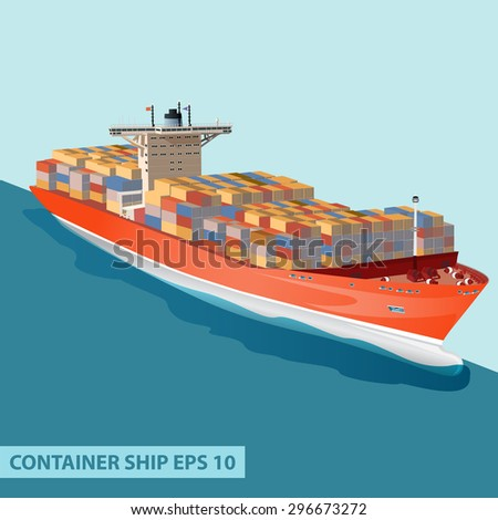 Cargo ship with containers on board. Detailed  vector illustration can be used for web design, modern infographics and other crafts. - stock vector