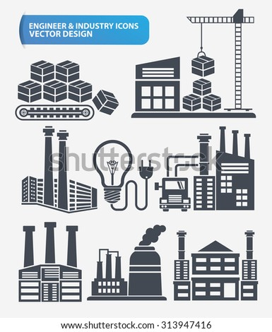 Cargo, shipping and industry icon set design,clean vector - stock vector