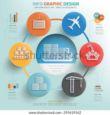 Cargo,shipping and transport info graphic design, Business concept design. - stock vector