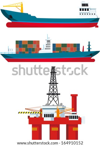 cargo ships and oil platform and isolated on white background - stock vector